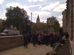 Picture of media crowd outside the Cabinet Office