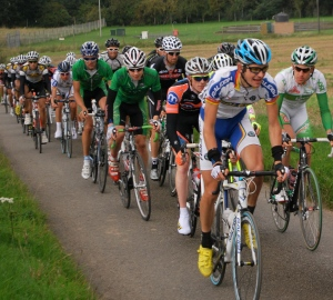 Picture of the Tour of Britain peloton in Norfolk